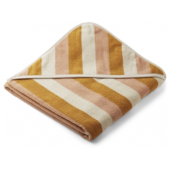 Liewood Babyhåndklæde Stripe - Peach/Sandy/Yellow