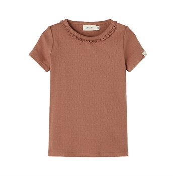 Lil' Atelier Pointelle T-Shirt - Carob Brown