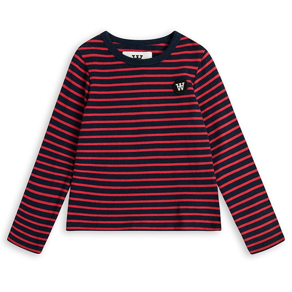Wood Wood Stribet Bluse Navy/Rød