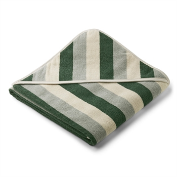 Liewood Babyhåndklæde Stripe - Green/Sandy/Dove Blue