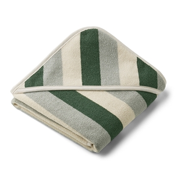 Liewood Newborn Håndklæde Stripe - Green/Sandy/Dove Blue