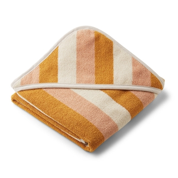 Liewood Newborn Håndklæde Stripe - Peach/Sandy/Yellow