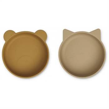 Liewood 2-Pak Store Silicone Skåle - Golden Caramel/Oat