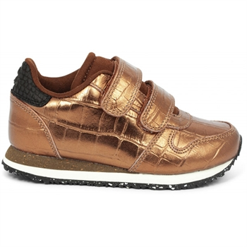 Woden Kids Sneaker Croco Shiny - Burnished Copper